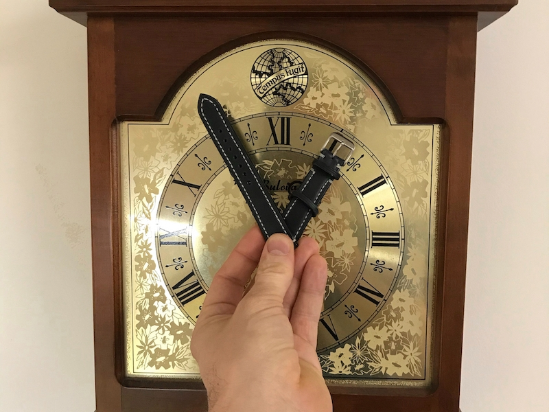 leather strap as clock hands