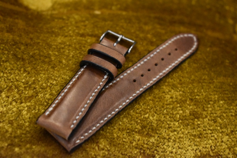 handmade leather strap brown hand stitched