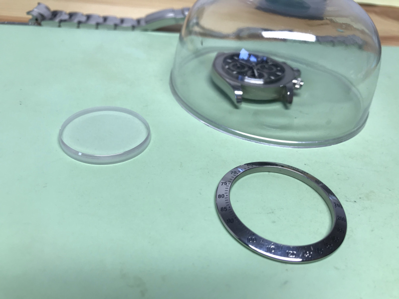 Vancouver watch repair Rolex daytona crystal and bezel removed